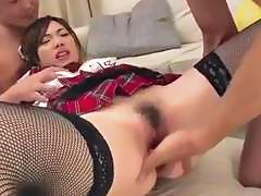 Emi Sasaki schoolgirl in heats porn threesome cam show