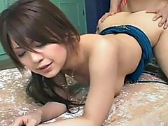 Playful girl Nanami Takase enjoys two dicks