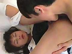 Japanese schoolgirl sucks cock and gets hardcore banging
