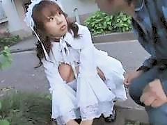 Innocent Japanese teen in Victorian dress fucks nasty