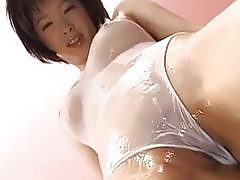 Gorgeous babe Kasumi blows a huge dick and rides it