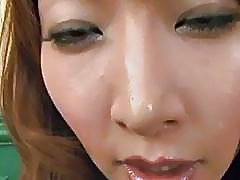 Asian milf gets tits pinched and pussy licked before giving amazing blowjob