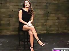 Asian slut Mena Li tied to a floor and fucked rough