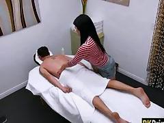 Sexy long haired Asian Nari Park gives massage and banged