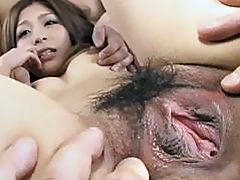 Toa enjoys two males to fuck her in threesome