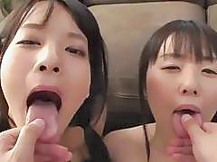 Abe Mikako Shares A Guy With Her Pal Shaved Pussies Perfect Asses Swap Cum