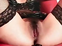 Hitomi in black lingerie gets sex toys
