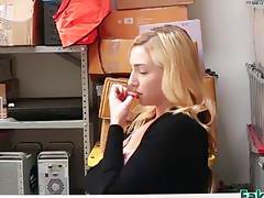 Officer catches brainwashed blonde thief and forces her to fuck him