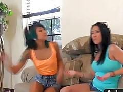 Two crazy Asians enjoy same cock