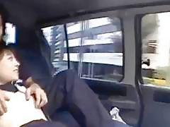 Petite Japanese schoolgirl got hairy pussy explored in car