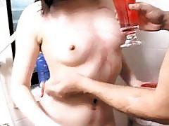 Maki sucks and rubs dick in bathtub