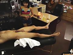 Skinny asian girl railed by pawn keeper at the pawnshop