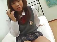 Horny schoolgirl Misa finger fucks her hairy cunt passionately