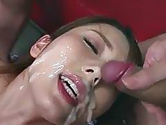 Yui Hatano looks pleased with so many dicks around her